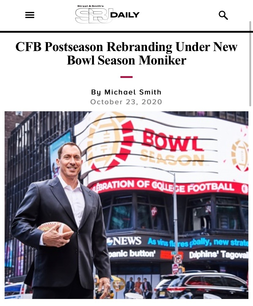 """""""Since joining the organization, I've listened to our membership's clear desire for a new identity -- to rebrand the FBA to speak directly to those who love this sport"""" - @NickCarparelli   WELCOME TO #BowlSeason FOOTBALL FANS! 🎉"""