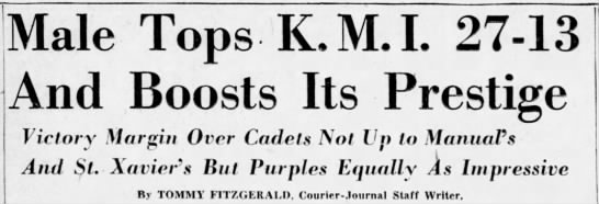 October 23rd, 1942: Addams and Christopher score two touchdowns each in Male football's 27-13 win over the Kentucky Military Institute at Maxwell Field. (7/14) https://t.co/U8qr3to7R9