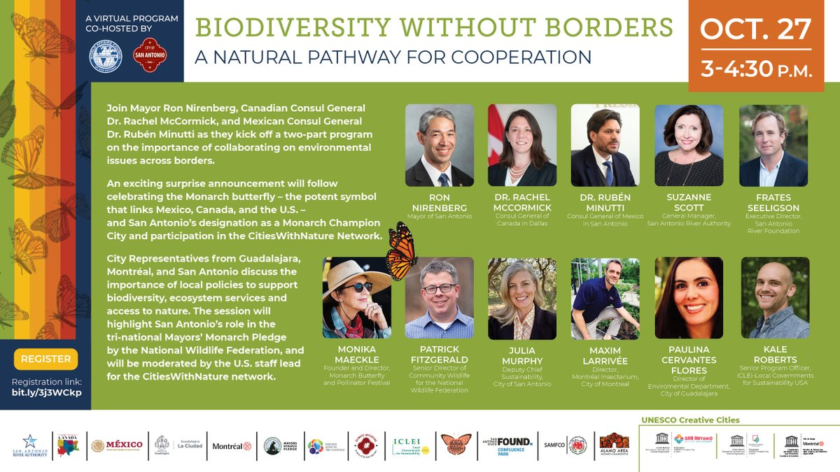 Next week, Mayor Ron Nirenberg joins Dr. Rubén Minutti, Consul General of México in SA, and Dr. Rachel McCormick, Consul General of Canada in TX to provide remarks on the importance of collaborating on environmental and sustainability issues 🇨🇦🇲🇽🇺🇸  https://t.co/YTaXk1wIlb https://t.co/FLh7N6WUak