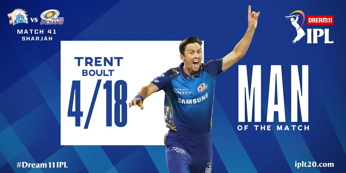 Trent Boult is adjudged Man of the Match for his outstanding spell of 4/18.  #Dream11IPL https://t.co/CPLt962GEb