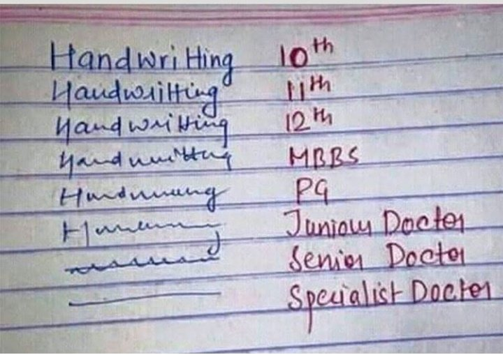 Evolution of Doctors handwriting. . Any doctor yunno?😁