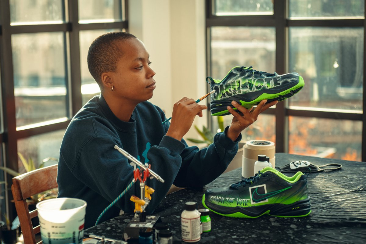 For Sunday's game, we've collaborated with Seattle artist Takiyah Ward @tdubcustoms on these custom Air Monarchs in support of #CoachTheVote! https://t.co/q3BdwU7asr https://t.co/G9peVBVvJK