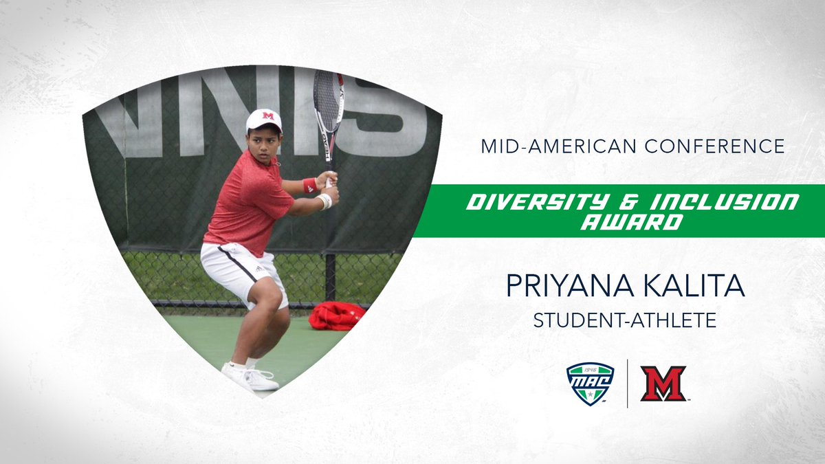 Miami senior tennis student-athlete Priyana Kalita has been named the winner of the MAC Diversity & Inclusion Student-Athlete Award!   🗒: https://t.co/htD3uYgkzR | #MACtion https://t.co/o1aj1Qxzok