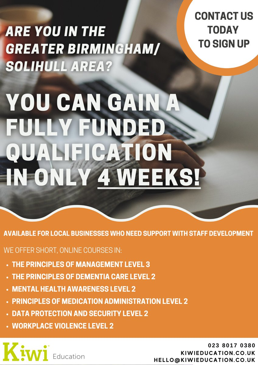 Are you in the Greater Birmingham/Solihull area? We offer short fully funded online courses for local businesses.  It only takes 4 weeks to complete  Contact us today on 02380 170380 to sign up #Brimingham #Solihull #Training #Onlinecourses #Birminghambusiness #Birminghamtraining https://t.co/INnUvn6zdy
