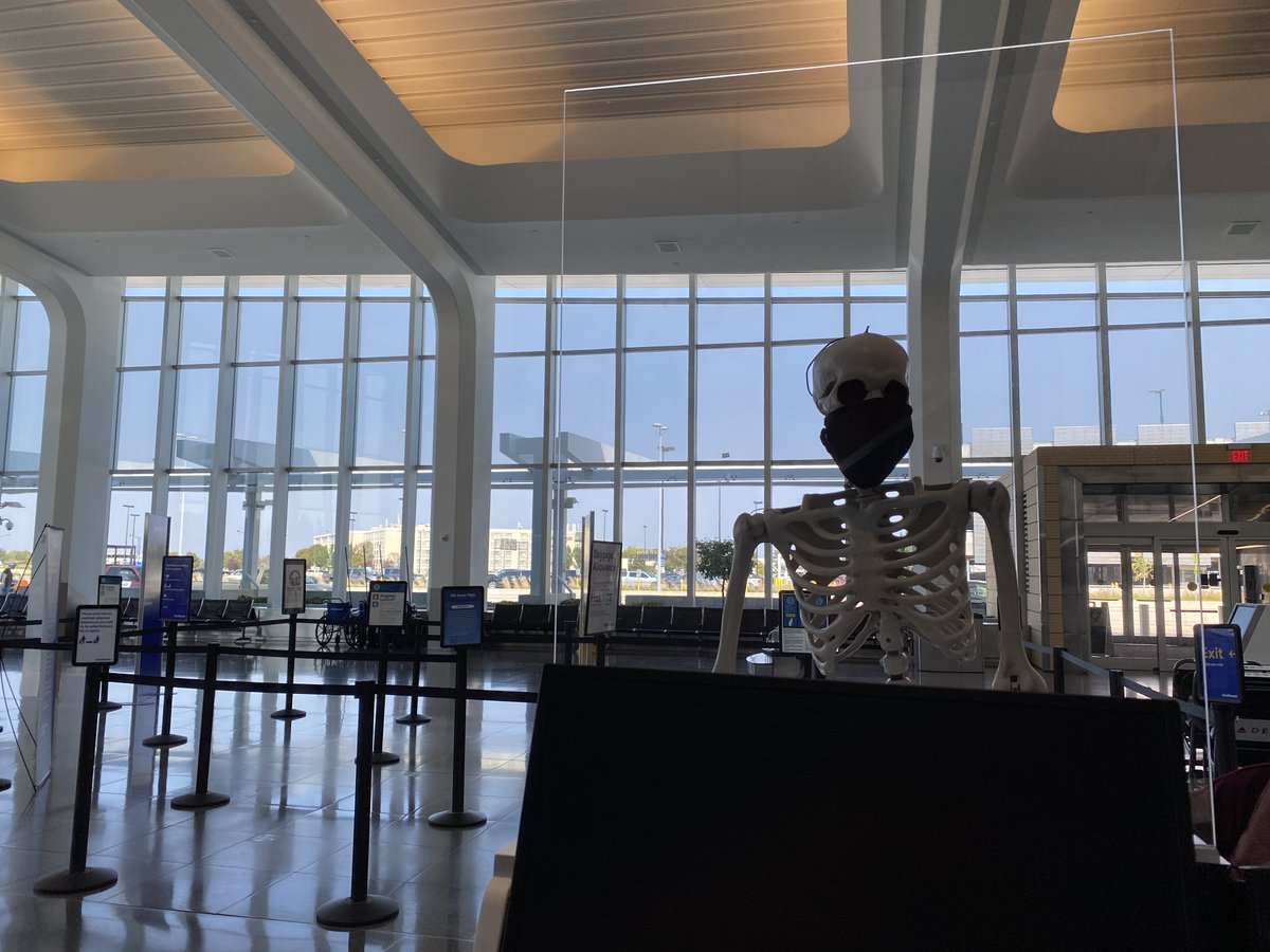 Red really enjoyed the plastic protective shields that are installed throughout ICT to protect others from your sneezing and coffin. 🤧⚰️  #RedSkeletonICT #AirportTwitter https://t.co/tUWRAxMWfi