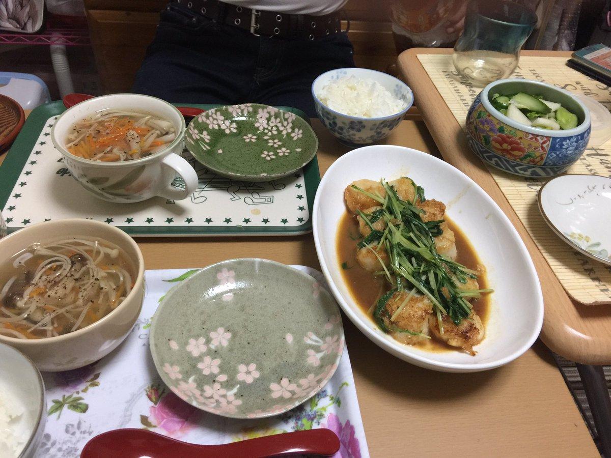 🌸#お家ごはん 🌸#クラシルレシピ から、水菜とホタテのバター醤油炒め 春雨きのこスープ 少しどんこのスライス入れてみました。白菜・きゅうり・大根・人参・セロリの漬物#減塩生活 #病気と付き合っていこう #漬け物作り