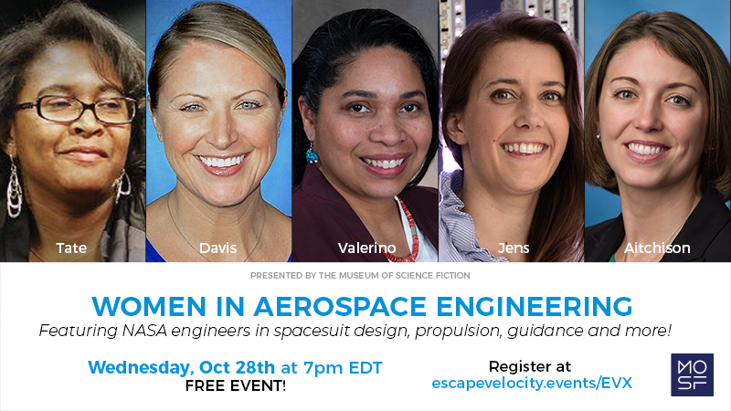 LaNetra Tate, a comm and nav leader at @NASAGoddard, is participating in a free panel for @Museum_SciFi! On Oct. 28 at 7 p.m. EDT, she joins prominent @WomenNASA engineers to discuss how @NASA transforms science fiction into science fact. Register here: escapevelocity.events/evx/