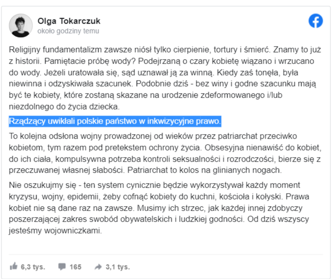 Halo @pisorgpl i @TVP olga tokarczuk jedzie po PiSie (jej cytat :