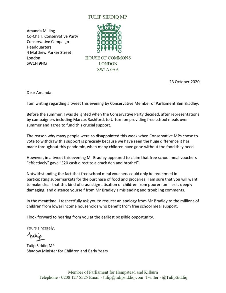 "👇 My letter to the Conservative Party Chair demanding an apology from the Tory MP Ben Bradley for his troubling comment that #FreeSchoolMeal vouchers ""effectively"" gave ""cash direct to a crack den and brothel""."