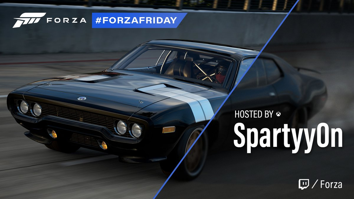 SpartyyOn is back in the drivers seat for a wild Forza Friday. Join up now at https://t.co/rXLuDb5sWb. https://t.co/DKyPWpwkYk