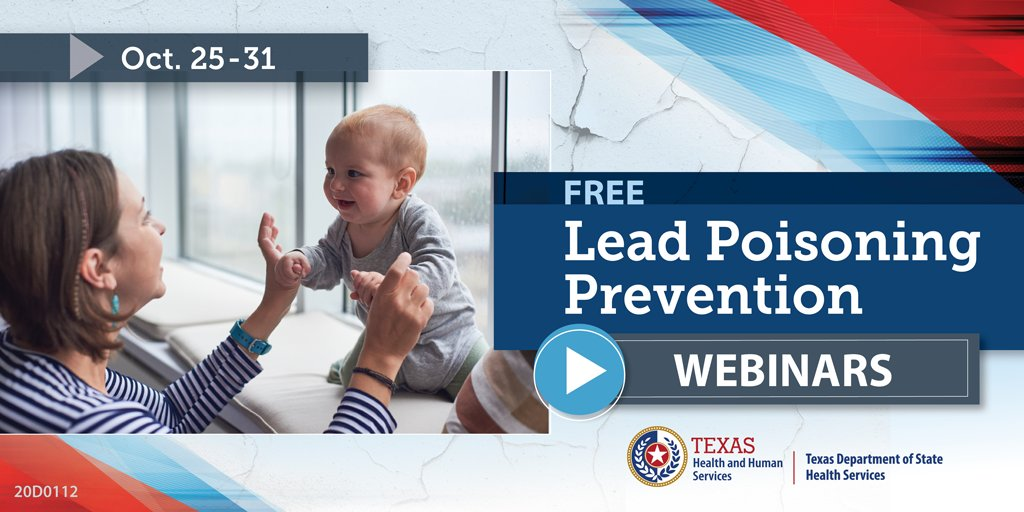 #DYK: About 3.6 million American households have children under 6 years old who live in homes with lead exposure hazards. #TeamTexasHHS and @TexasDSHS invite you to join free Lead Poisoning Prevention Webinars for National Lead Poisoning Prevention Week. hud.gov/sites/dfiles/H…