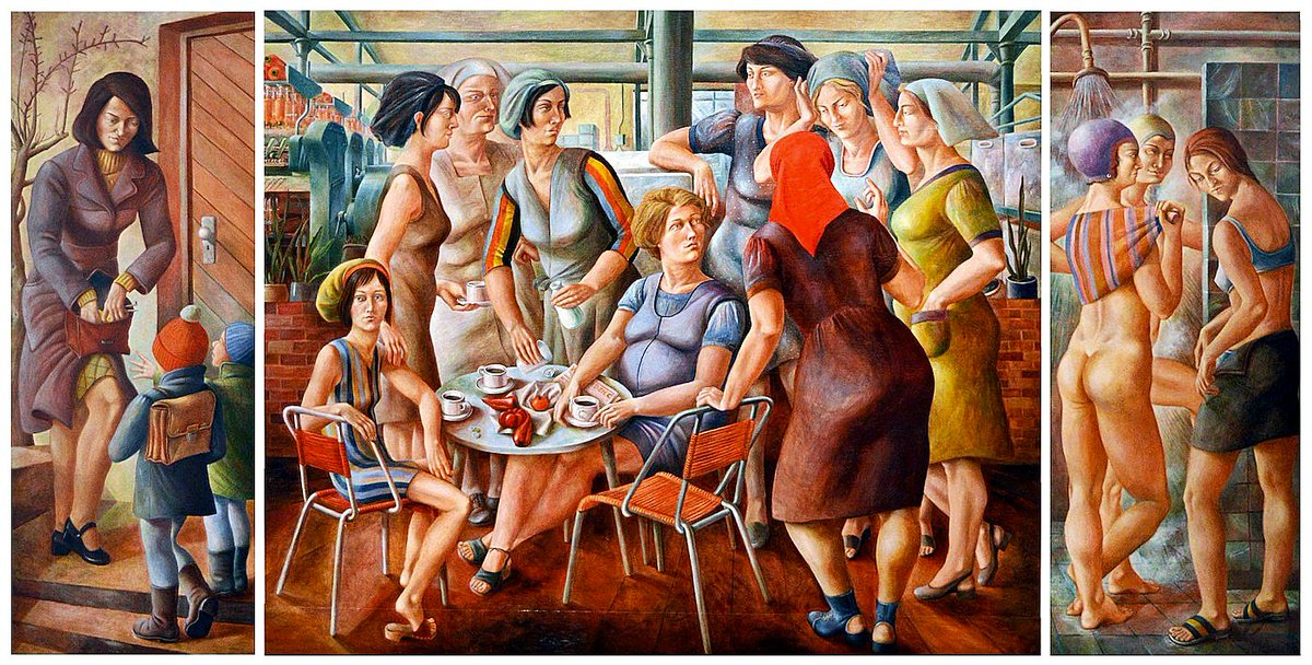 Petra Flemming (German, b.1944 - d.1988). Frauen - Triptychon (Women - Triptych), 1973. Mixed media on masonite, 70 × 221 cm. Commissioned by the Naunhof plant of the VEB cotton mill in Leipzig, Flemming was requested to address the role of women in the overall social process. https://t.co/1eOD4PE6KD