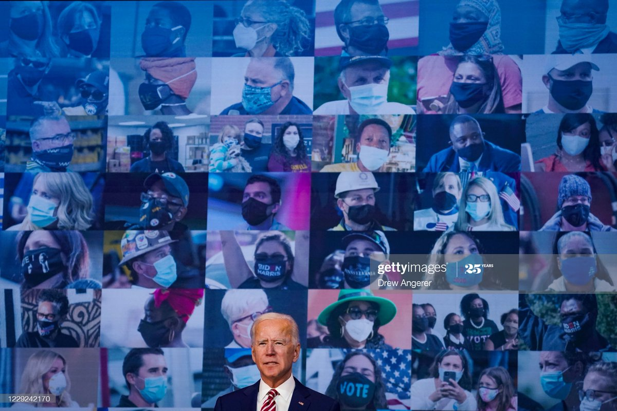 Democratic presidential nominee @JoeBiden delivers remarks on his plans for combatting the #coronavirus pandemic at The Queen theater in Wilmington, Delaware #COVID19 #Election2020 📷: @drewangerer https://t.co/nJe5IrOk45