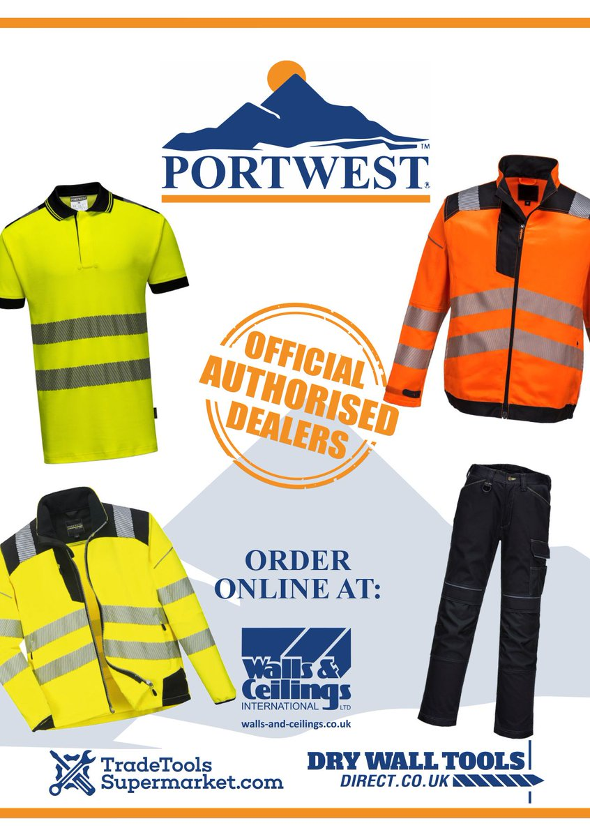 Portwest - workwear, high-visibility workwear and PPE.  We have them here at https://t.co/3eoXoDAo8q  #plasterer #plastering #construction #constructionuk #drywall #drylining #drywalltools #handtools #powertools #authoriseddealers #renovation #buildingmaterials #housebuilding https://t.co/h7WWdr80kF