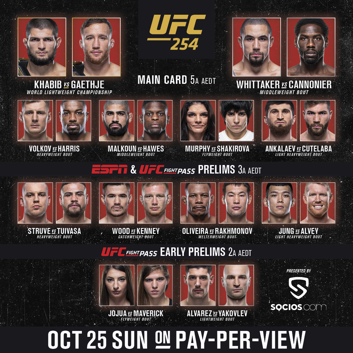 See you in a few hours for FIGHT DAY!  ⏰ Don't forget – the #UFC254 main card starts at 5am AEDT / 7am NZDT: https://t.co/WNrSgYjLVN  #InAbuDhabi @VisitAbuDhabi https://t.co/4R82aS81NF