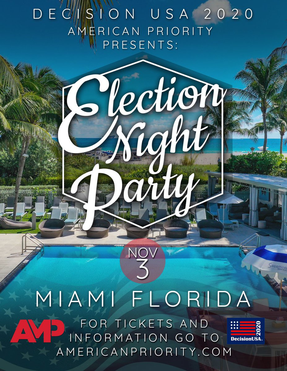 BREAKING: AMP will be hosting a major Election Night Party in Miami, Florida on November 3, 2020! 🇺🇸 Get tickets here: americafirstevents.swoogo.com/ampvote2020/78…