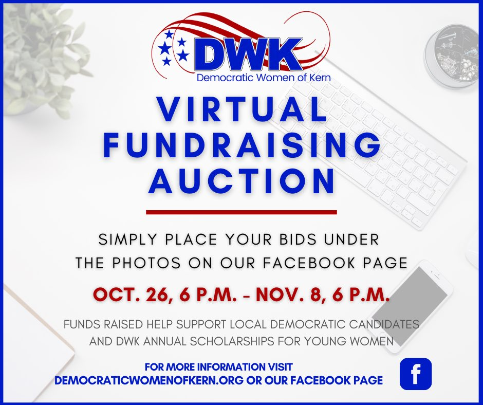 Get your holiday shopping finished early and help raise money for #Democrats in Kern County. Simply go to our Facebook page on 10/26 at 6 PM and bid! #BlueTsunami2020 #fundraiser https://t.co/l4cyHlBP0w