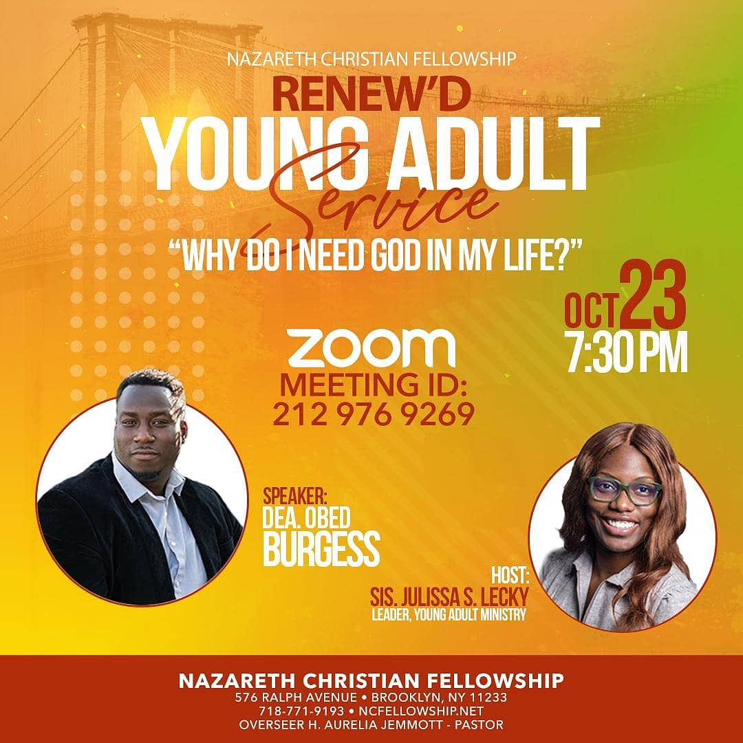 """""""𝙒𝙝𝙮 𝙙𝙤 𝙄 𝙣𝙚𝙚𝙙 𝙂𝙤𝙙 𝙞𝙣 𝙢𝙮 𝙡𝙞𝙛𝙚?""""  Have you ever asked this question? Join our Renew'd Young Adult Ministry via Zoom TONIGHT at 7:30 PM as Deacon Obed Burgess speaks on this topic. Share this post with a friend! #growatNCF #tonight  Zoom ID: 212 976 9269 https://t.co/f3dwc2mddF"""