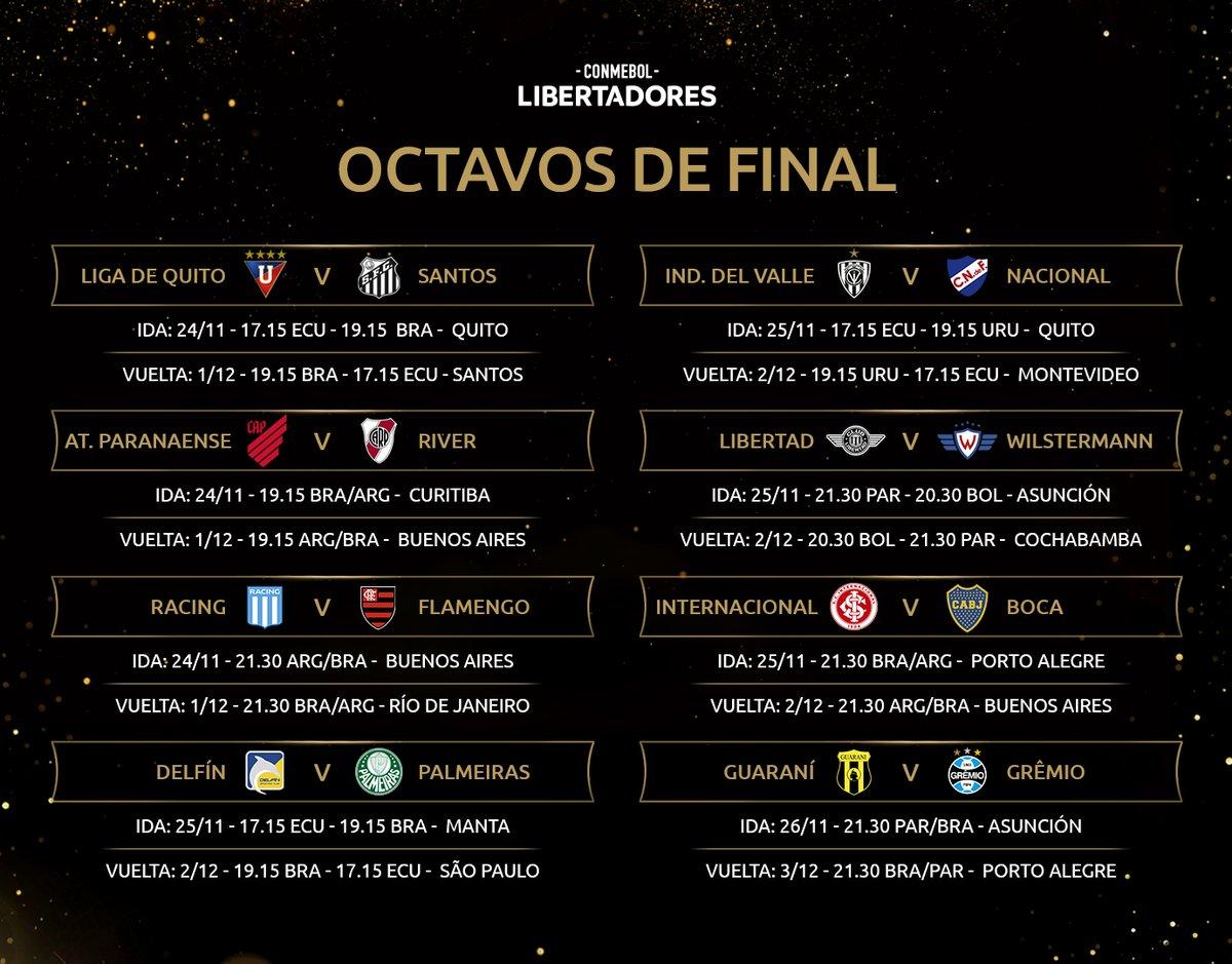 📅 ¡El fixture! Días y horarios de los octavos de final de la #Libertadores.  #GloriaEterna https://t.co/SsMaj8ZztQ