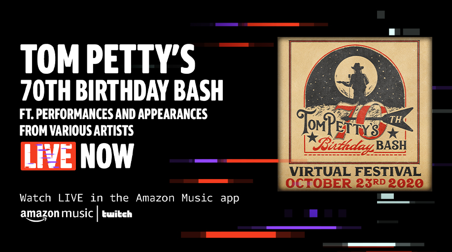 Don't miss us celebrating the life and music of @tompetty on the Tom Petty's 70th Birthday Bash 🥳  Watch LIVE NOW in the Amazon Music mobile app ➡️ https://t.co/UwKltOLtIF https://t.co/kbTlYqO7kb