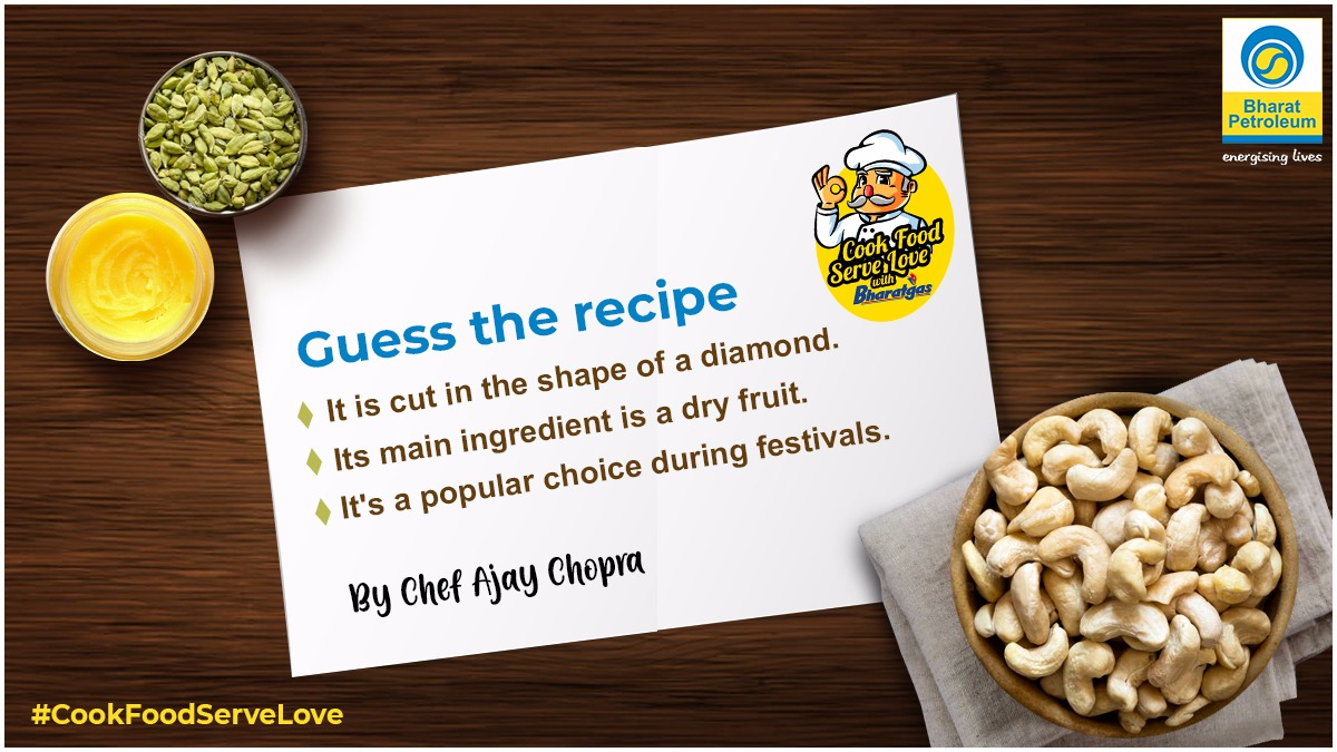 Guess this sweet, which is a crowd favourite, especially during festivals. One right answer will win a gift voucher for ₹1,000. Tag 3 friends, use #BharatPetroleum & subscribe to our YouTube channel: https://t.co/j6UiE1U5i6 See the recipe at 8 A.M tomorrow. #ContestAlert https://t.co/15EcVUjkN0