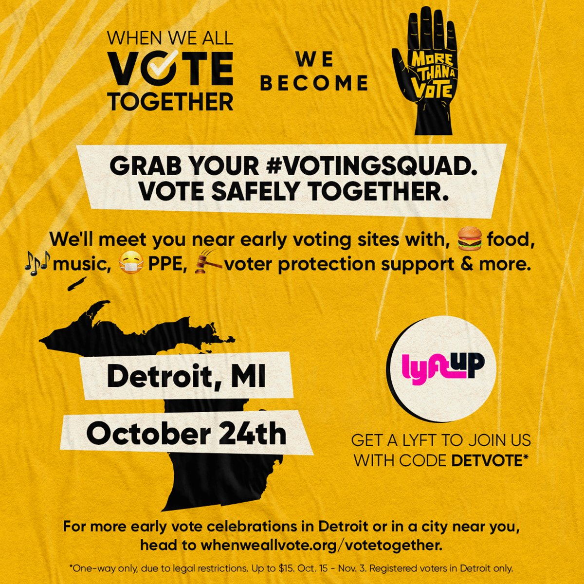 #DETROIT @WhenWeAllVote is making dropping off your ballot so easy tomorrow - free food, local dj's and more at the ballot drop-off location at Henry Ford @DetroitPistons  Performance arena!  Hit the link for more info