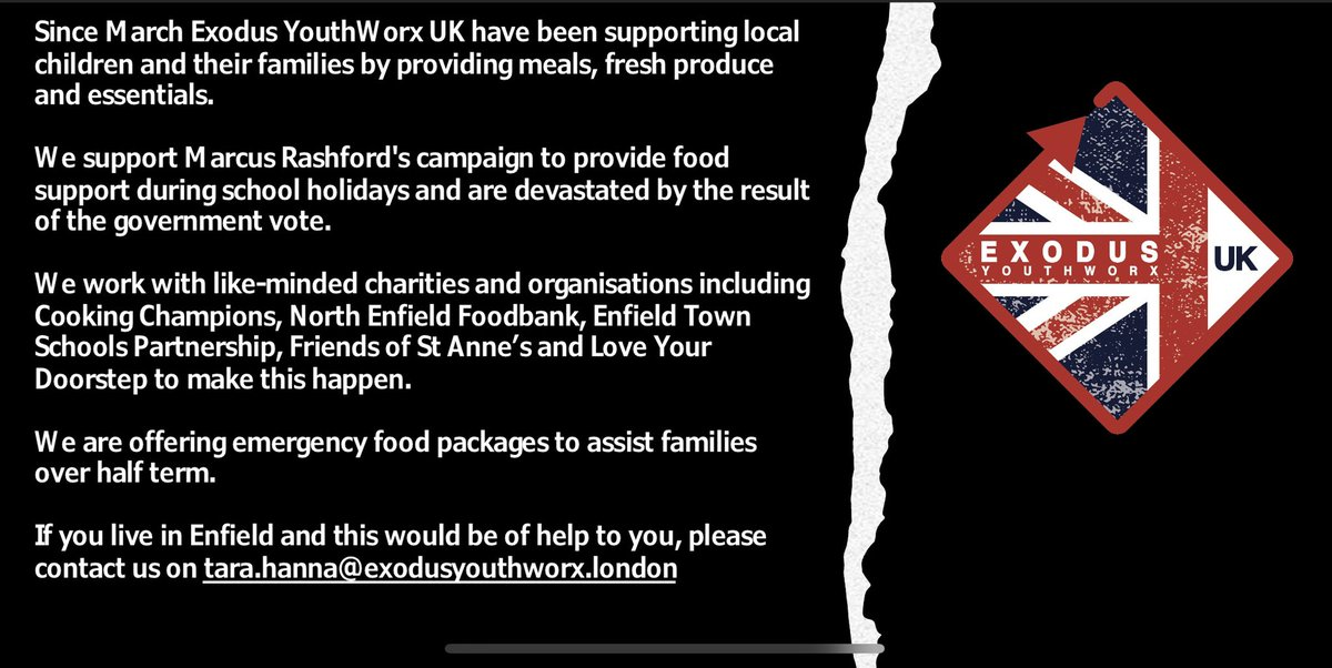 If you live in #Enfield and need food support this week, please get in touch. #holidayswithouthunger #encouragement #empower #enable #endchildfoodpoverty #equity https://t.co/JPNbjkqriW