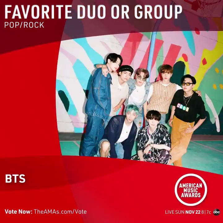 #AMAs Favorite Duo or Group - Pop/Rock:  ♦️ @BTS_twt ♦️ @jonasbrothers ♦️ @maroon5