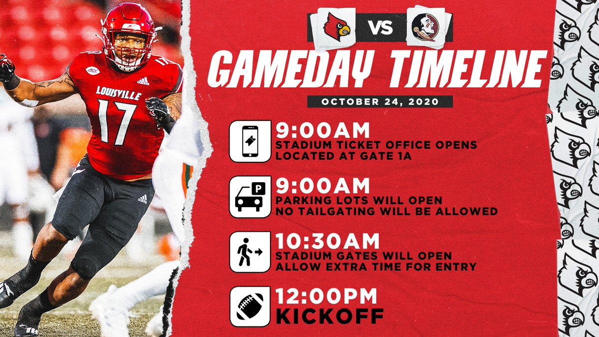 Get your gameday schedule set as @UofLFootball preps for tomorrow's showdown with Florida State.  Tickets: https://t.co/1S0GMm52eN Details: https://t.co/bAWReI75Nl   #GoCards | #BeatFSU https://t.co/bX8O7sx0oR
