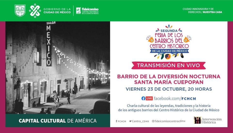 #Cartelera  Conoce la vida nocturna del barrio de Santa María Cuepopan en el #podcast @legendariamx . 🕺  Te esperamos a las 20:00 horas a través de nuestro #FacebookLive y no olvides participar en el #RallyDeLosBarrios. https://t.co/eGOIkohCBg