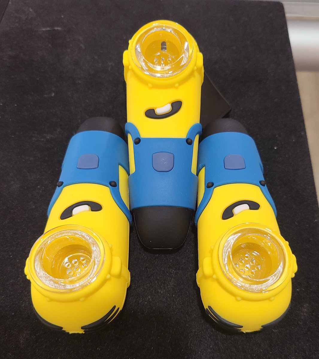 How cute are these silicone minion pipes??  #minions #siliconepipe #minionpipe #cutecharacters  #justcamein #shoplocal #getyoursstores #route302 https://t.co/oSFTuefMns