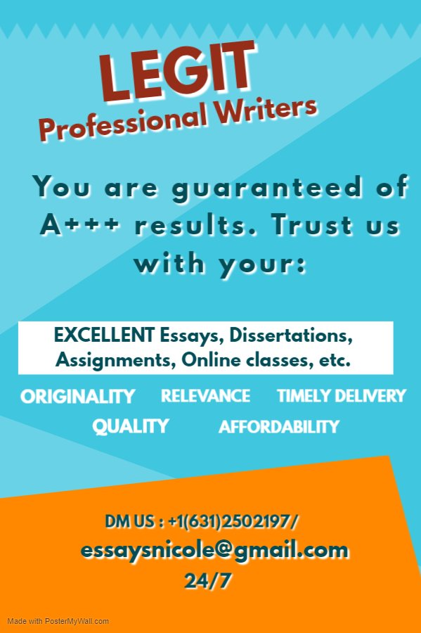 Don't miss your deadline!!  #English #onlineclasses #fallclasses  #Essaydue #Paper pay  #Javascript #Dissertation #Discussions #Do my homework #Health sciences #Maths #Businesslaw #Statistics  #homeworkslave #Philosophy  #assignmentdue  essaysnicole@gmail.com/ +16312502197 https://t.co/9MBPg5eNnQ
