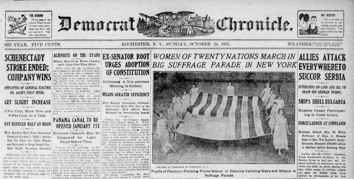 """Among the largest suffragist parades transfixed New York today in 1915 with as many as 60,000 marchers and several hundred thousand spectators. As Kansas newspaper editor Henry J. Allan described, """"It was the most democratic exhibition I have ever seen in New York."""" #OTD #TDIH https://t.co/vV8Fnt23Tz"""