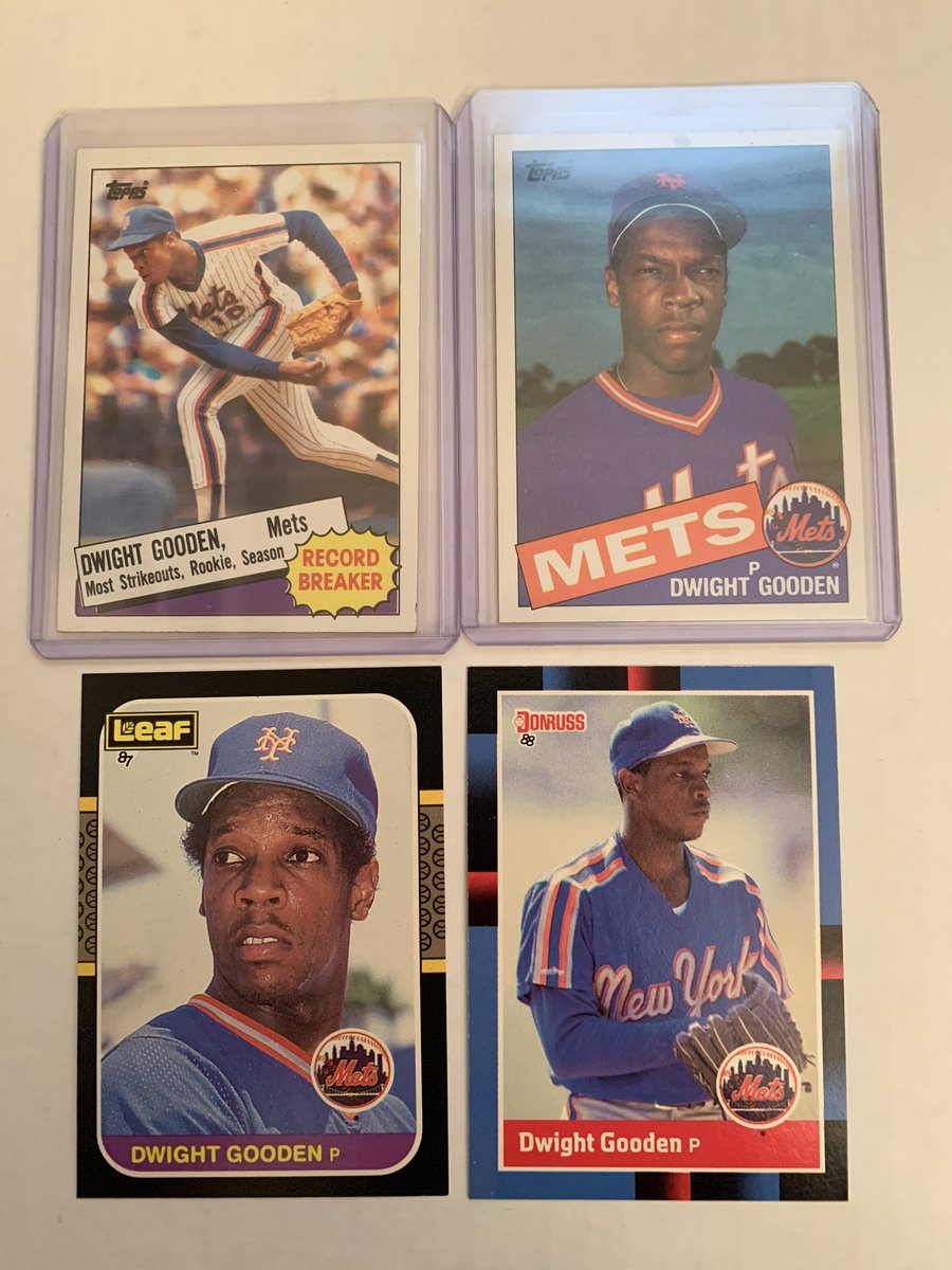 Doc Gooden lot! Topps Rookie, 85 rookie season strike out record, Canadian 87 Leaf! $10. Note 85 topps has mark on top border.@Hobby_Connect @HobbyConnector @HiveCards https://t.co/yl356nFIq9