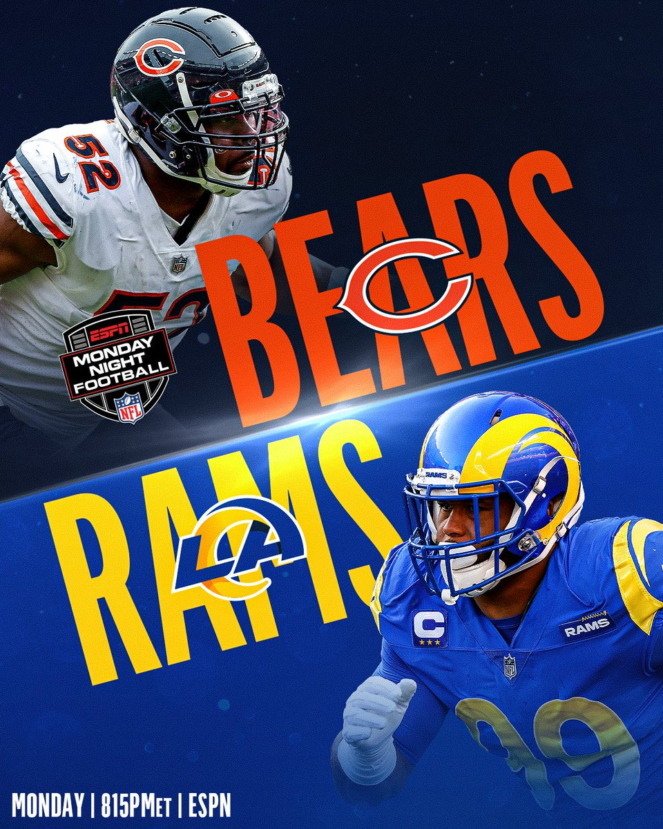 .@ChicagoBears 🆚 @RamsNFL. 📺: #CHIvsLAR -- Monday 8:15pm ET on ESPN 📱: NFL app // Yahoo Sports app