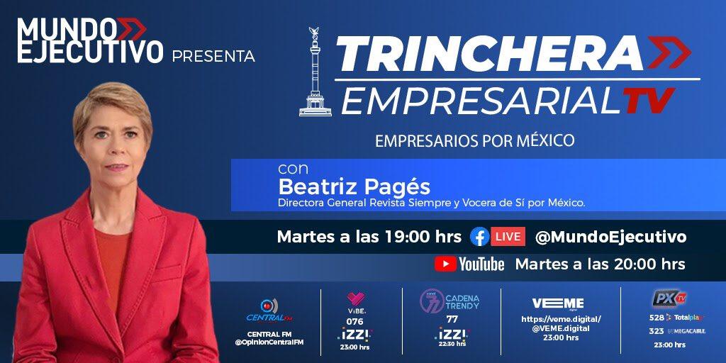 ¡La próxima semana en #TrincheraEmpresarialTV tendremos una invitada muy especial!📺  Acompaña a @PagesBeatriz, directora de @Siempre_revista, en nuestra charla.   📌 Martes 27 de octubre  ⏰ 19:00 horas   ¡Por #FacebookLive! 👉🏻  https://t.co/l1xmT8p5Fl https://t.co/veITX6tYcX