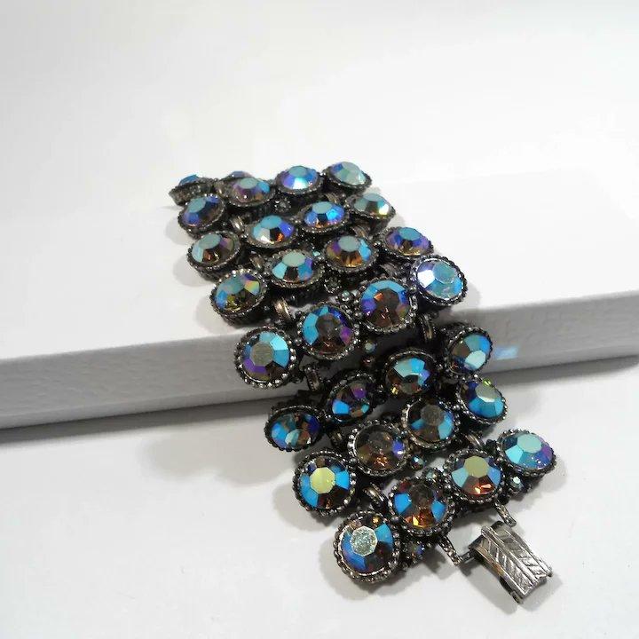 Massive Wide Chunky Blue Aurora Rhinestone Bracelet #rubylane #vintage #retro #bracelet #giftideas #fashionista #diva #glam #rhinestones https://t.co/28W2AmSoxt https://t.co/D87rA2Ryva