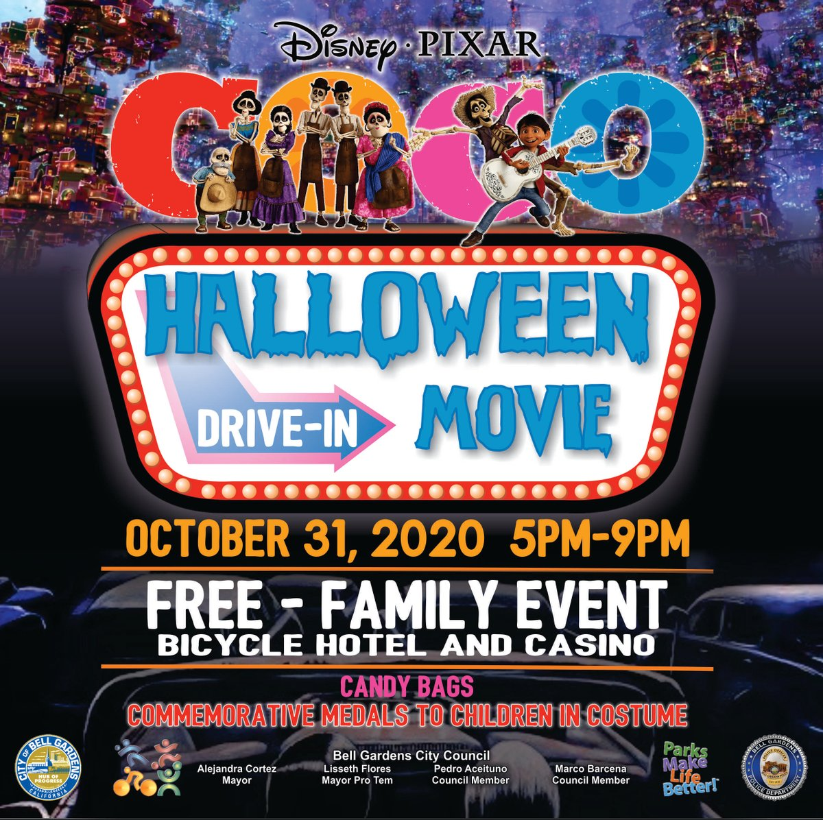 Join us Saturday, October 31 for our Halloween Drive-In Movie at the Bicycle Hotel and Casino Parking Lot!   #trickortreat #pumpkin #spooky #happyhalloween #costume #BG #BellGardens #BGSafe #BGStrong https://t.co/czrP9Fsk1x