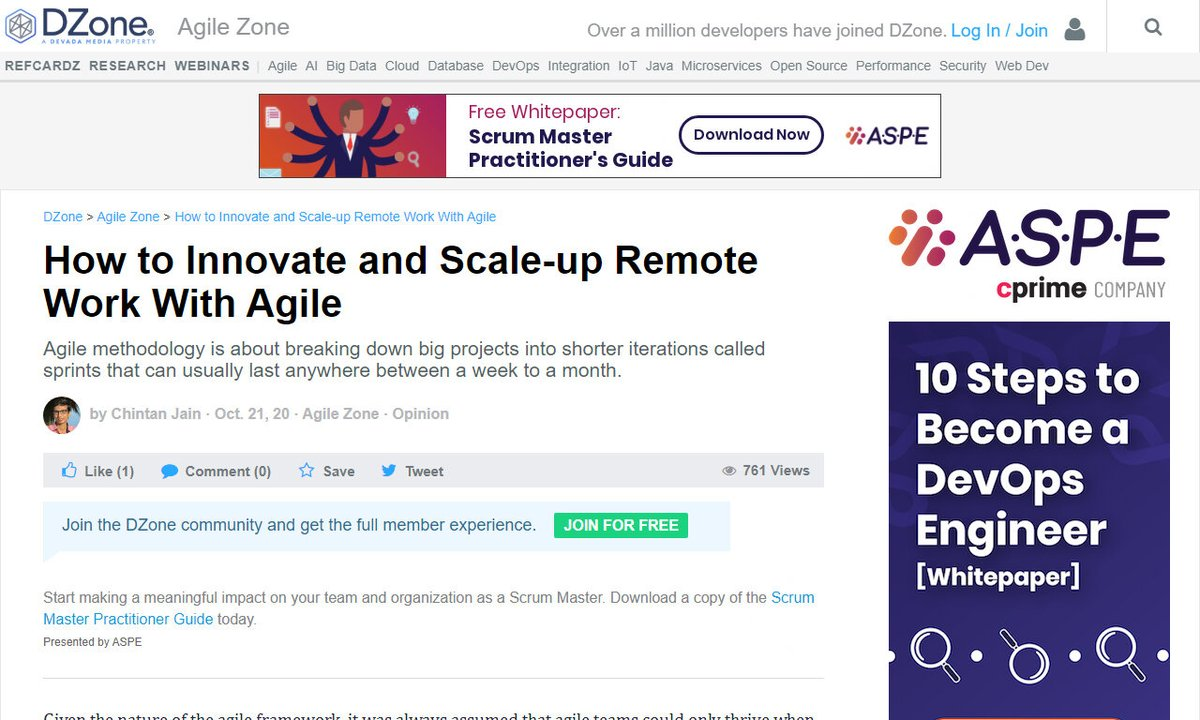 How to Innovate and Scale-up Remote Work With Agile #goldenhours #work #time #tasks #agileframework #remotework via @DZone ☛ https://t.co/45xscARI3h https://t.co/7uA5aOa8Ta