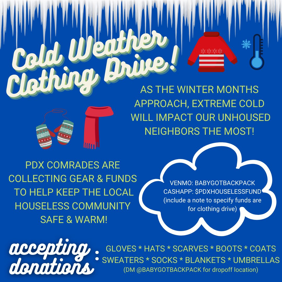 i'm organizing a clothing drive with my comrades! we're collecting gear, clothes, and funds to provide unhoused friends with cold weather protection. please share this and DM me for more info. we protect us! https://t.co/Y8mjzmxHyw
