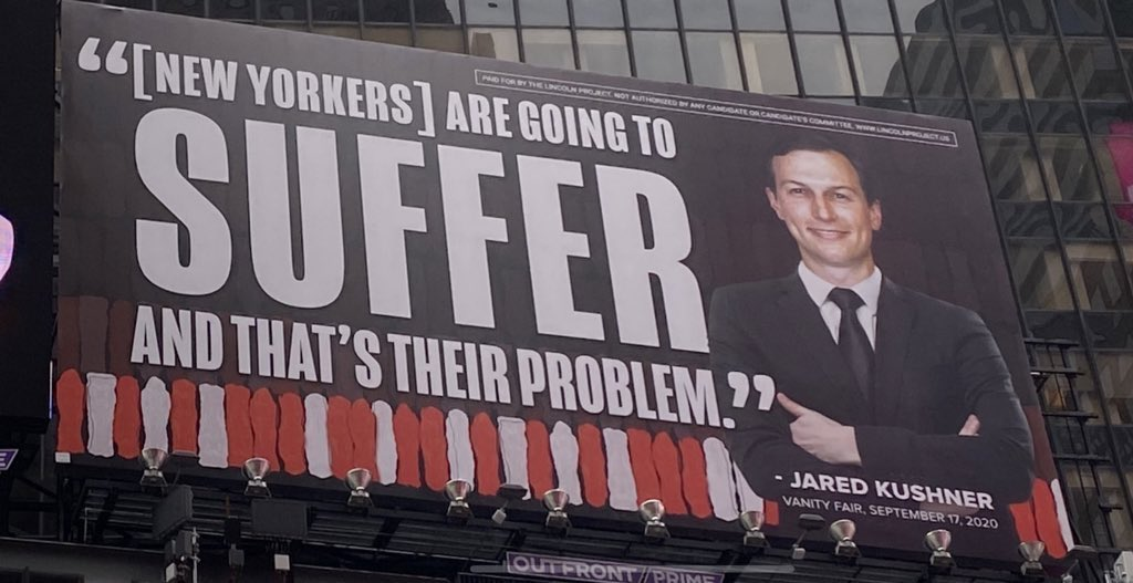 Jared and Ivanka's lawyers are threatening to sue @ProjectLincoln for putting up these billboards up in Times Square so please don't hit that retweet button https://t.co/xm7nHtaOxQ