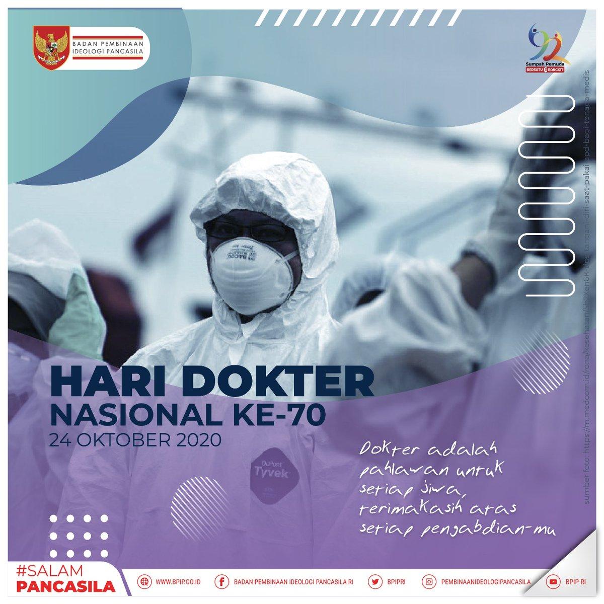 #SalamPancasila  Di Tahun 2020 kita merayakan Hari Dokter Nasional yang ke 70 dan di tanggal 24 Oktober 1950 juga merupakan hari kelahiran dari IDI (Ikatan Dokter Indonesia).  - Selamat Hari Dokter Nasional ke-70! 24 Oktober 2020 -  #HariDokterNasional #CeritaPancasila #BPIP https://t.co/swkOmb6Cf9