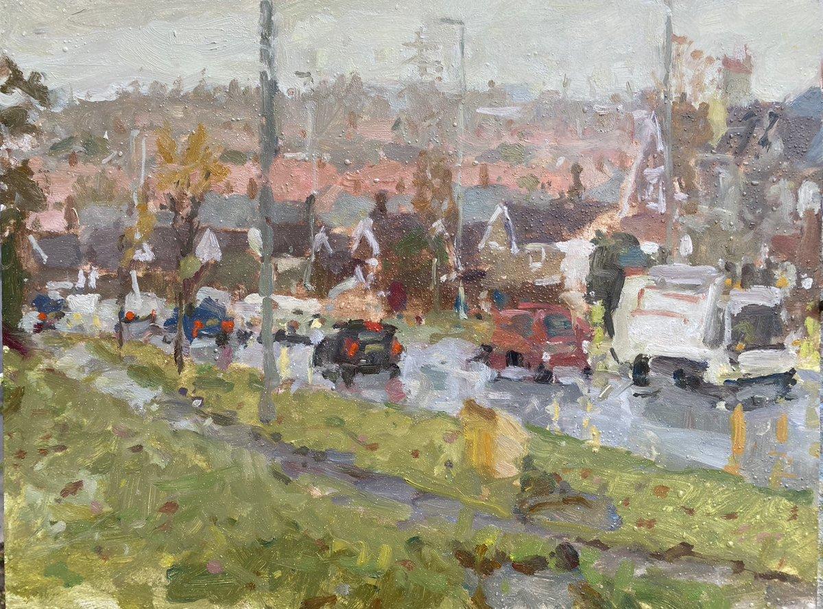 5/10 Day five of posting a painting over 10 days #devonshirerd #rockgardens #bispham #blackpool #cars #traffic #binmen #bincollection #binman #refuse #autumn #leaves #chimneys #rain #wind #impression #houses #rooftops #pylon #path #oilpainting #adamralstonartist #northernboysart https://t.co/OxTBQbp7mt