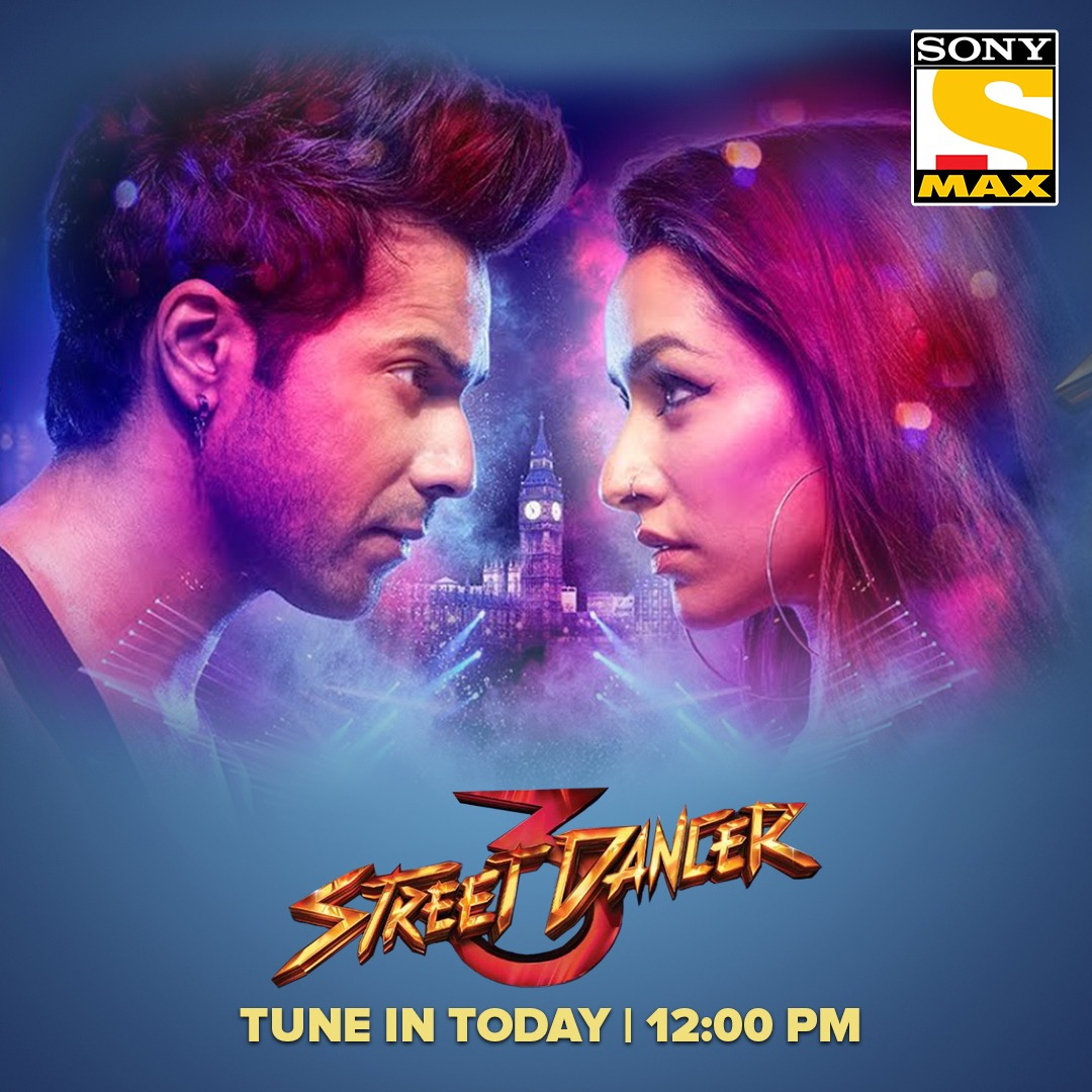 Machane dance ki dhoom, aa gaye hai Street Dancers ki group! Watch Street Dancer 3 today at 12 PM only on Sony MAX. #StreetDancer3OnSonyMAx