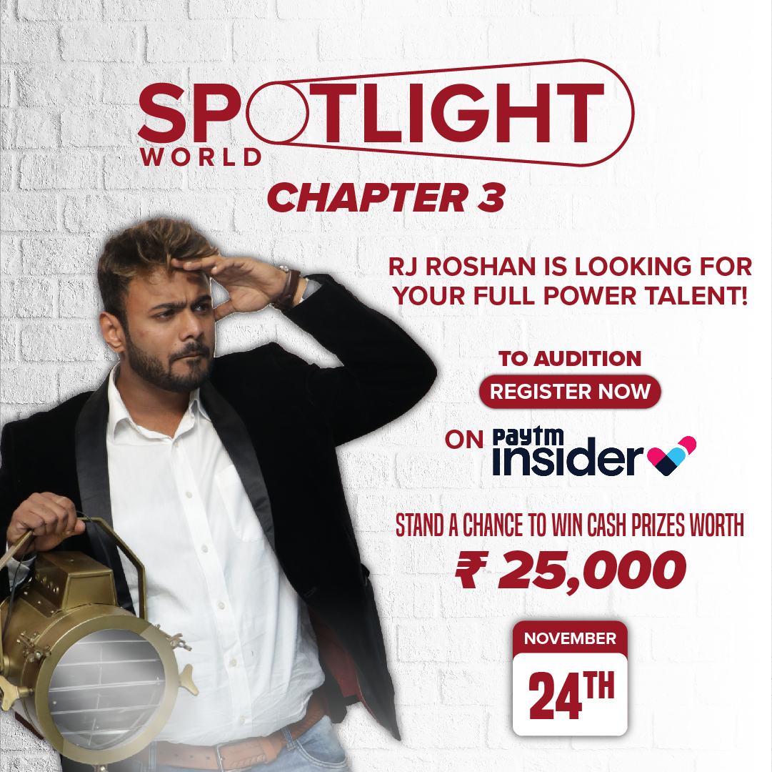 Spotlight World Chapter 3 - Talent Ka Hotspot has arrived! Winners stand a chance to win cash prizes upto ₹25000 and perform with celebrity guests! Go on! If you have a talent, get your tickets now and take part in the auditions! https://t.co/nvQem5im9u https://t.co/Mu5aOh7EFh
