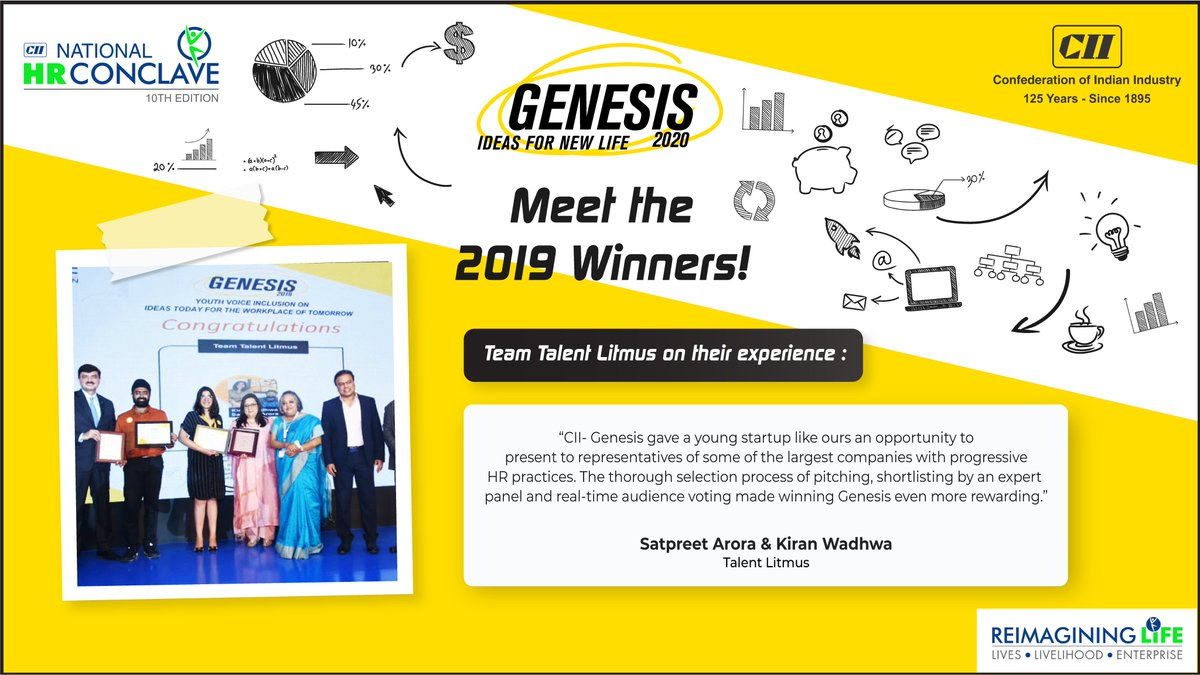 In its very 1st edition Genesis saw an explosion of tremendous breakthrough ideas. Let's hear from our winning team- Talent Litmus on their experience of Genesis 2019. Are you game for a bigger challenge this year?  Watch this space for more!  #Genesis2020 #10thNationalHRConclave https://t.co/uzMGc8U9LF