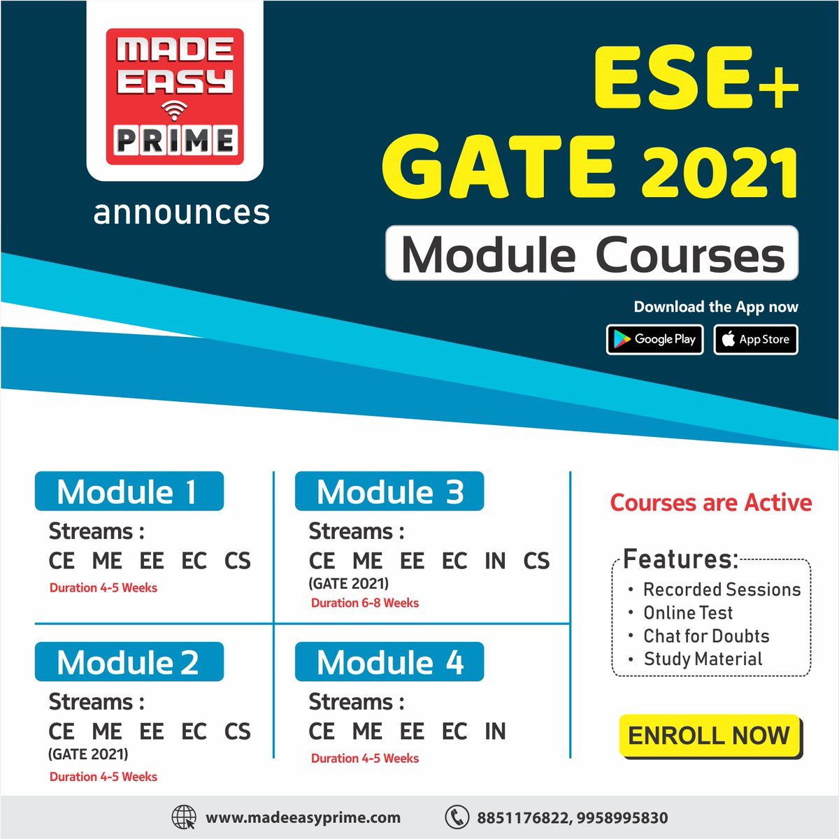 Module Course for ESE+GATE is a brand new initiative of MADE EASY PRIME where students can subscribe to Modules (a combination of 2-3 Technical subjects) for each Branch. To know more please visit: https://t.co/J3uCWoj0cZ  #GATE2021 #ESE2021 #IES #OnlineClasses #MADEEASYPrime https://t.co/KSlj7dzGDr
