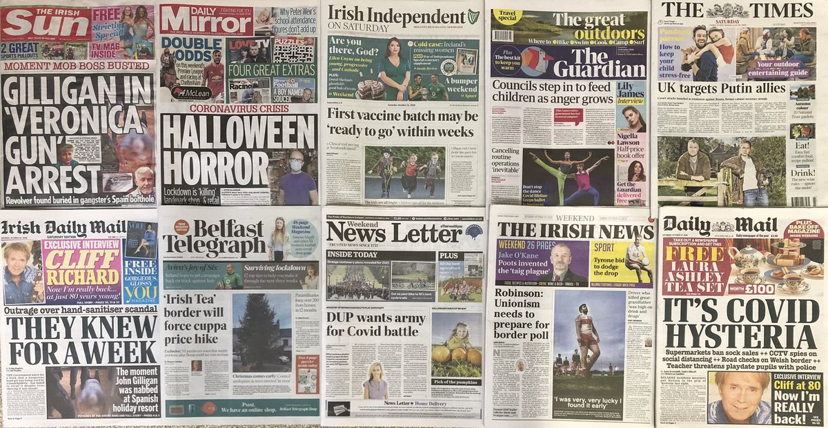 SATURDAY HEADLINES.....CHRISTMAS COMES EARLY: COUNCIL APOLOGIES AS TREES ERECTED'IN ERROR'.......FIRST VACCINE BATCH MAY BE 'READY TO GO' WITHIN WEEKS......DUP WANTS ARMY FOR COVID BATTLE......COUNCILS STEP IN TO FEED CHILDREN AS ANGER GROWS......#BuyANewspaper #washyourhands https://t.co/TupNWD4xwu