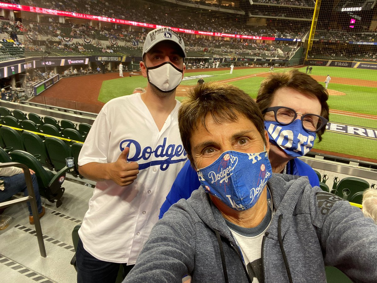 So fortunate to be at our first-ever #WorldSeries, and to watch the #Dodgers get the win in Game 3 with our nephew Josh. Two more wins to go! #GoDodgers #BucketList