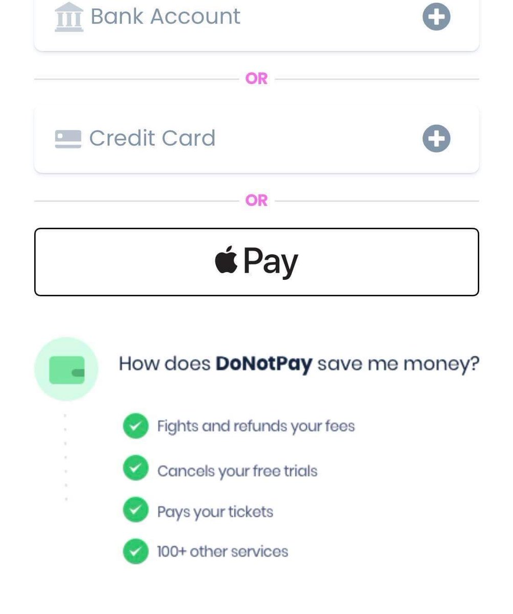 Changes to @DoNotPayLaw onboarding this evening:  1. No need to give us your credit card or bank any more. Apple and Google Pay are fine too! (Live now).  2. No need to give us your phone number. Email or anonymous is fine too! (Monday).  3. Cheaper/new pricing tiers + more soon https://t.co/vP4M3K7Sr5